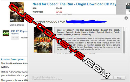 Need for Speed: The Run CD Key for Origin