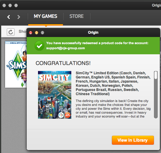 simcity activation